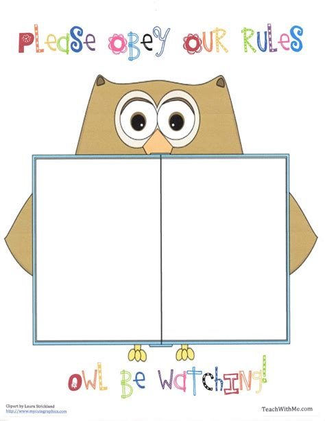 classroom rules template classroom freebies owl rules anchor chart