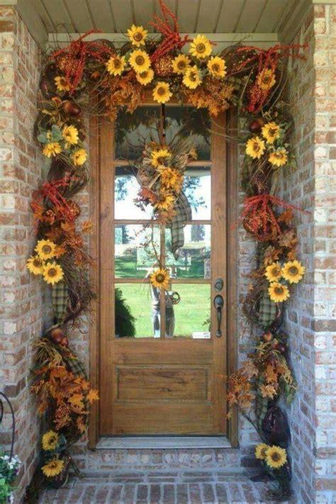sunflower garland  front door autumn deco pictures