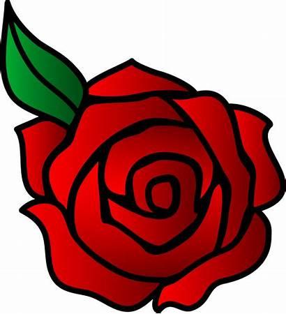 Rose Clip Vector Flower Simple Flowers Valentines