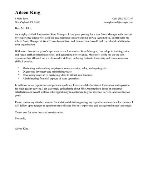 Cover Letter For Moving To A New City by Best Store Manager Cover Letter Exles Livecareer
