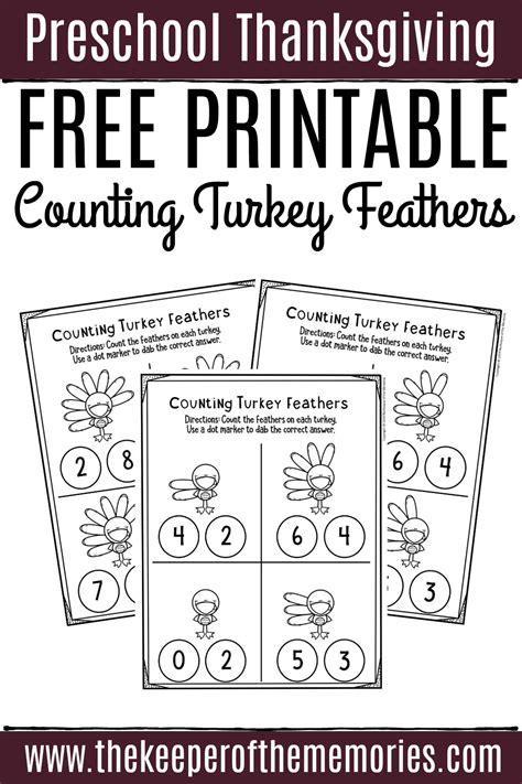 printable counting thanksgiving preschool worksheets