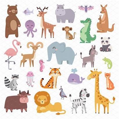 Animals Cartoon Character Vector Illustrations