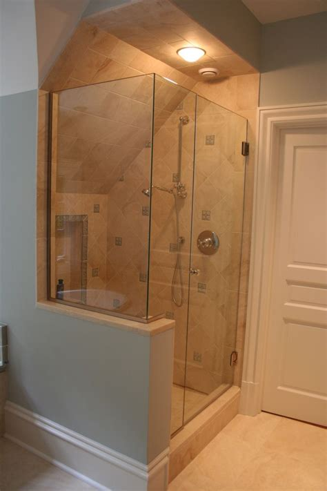 frameless corner glass shower  slanted ceiling
