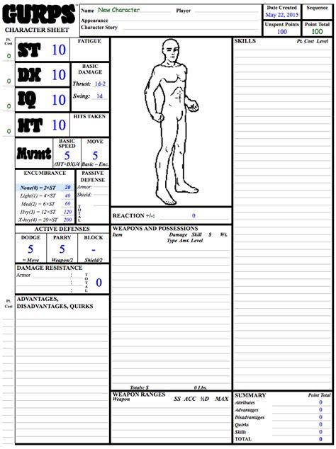 gurps character sheet gurps character sheet 3rd edition pdf