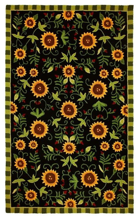 Sunflower Area Rug by Contemporary Sunflowers On Black Area Rug Contemporary