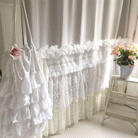 shabby chic ruffle shower curtain bohemian lace ruffle shower curtain shabby chic style bathroom home decor pinterest ruffle