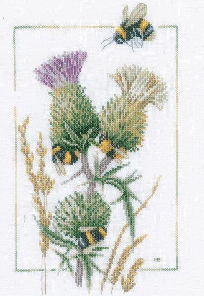 thistle bees cross stitch kit  marjolein bastin