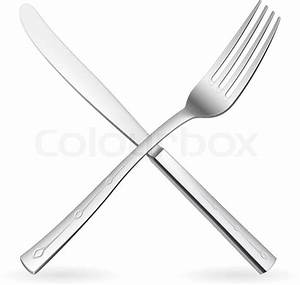 Crossed fork and knife Illustration on white background ...