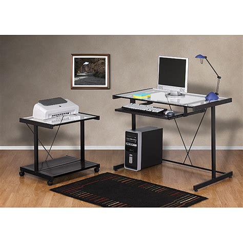 Computer Desk And Printer Cart Value Bundle Black Metal