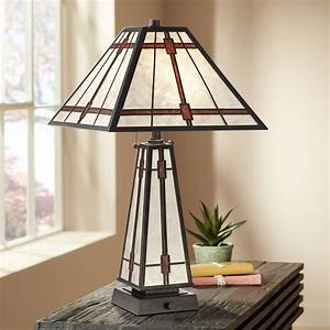 Franklin, Iron, Works, Mission, Rustic, Table, Lamp, With