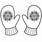 Mittens Coloring Mitten Winter Pages Snowflake Clipart Printable Sheet Sheets Cute Christmas Snowman Snowflakes Drawing Pattern Colouring Craft Kindergarten Single sketch template