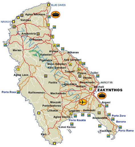 map  zante detailed map  zakynthos island greece