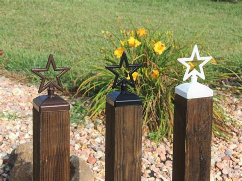 star fence post cap decorative star   deck  fence post top madison iron  wood
