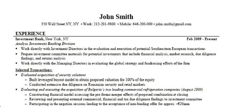 Investment Banking Resume Format by Investment Banking Resume Of Walls