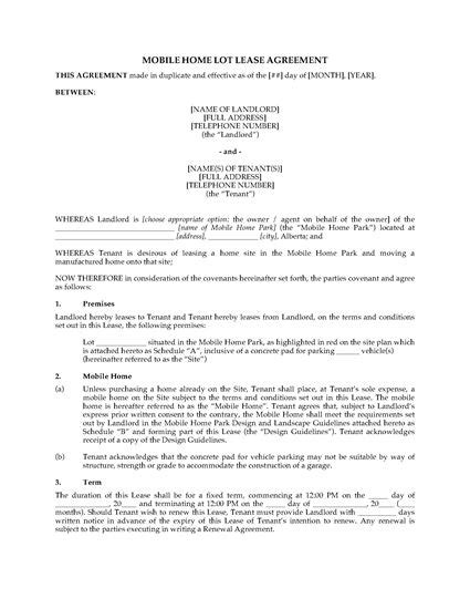 alberta mobile home lot lease agreement legal forms