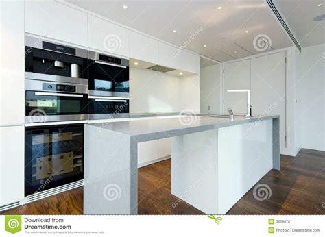 contemporary kitchen  top spec appliances stock image