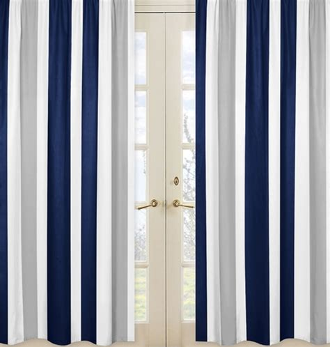 window treatment panels for navy blue and gray stripe