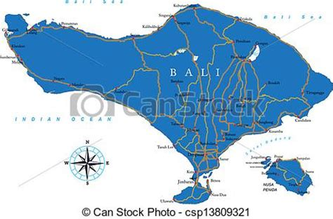 vector illustration  bali map highly detailed vector