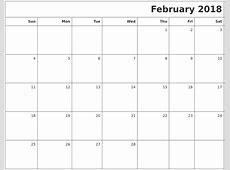 February 2018 Printable Blank Calendar
