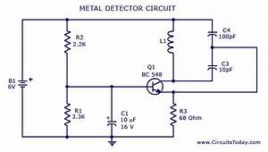 Manual Metal Detector Circuit Diagrams