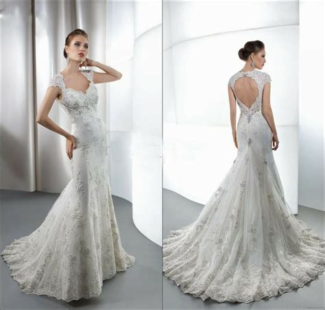 Bridal Gown Lace Beaded Appliques V Neck Backless Crystals