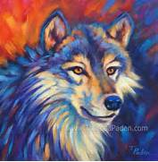 Artwork  Bright Colorful Wildlife Paintings by Theresa Paden  Colorful Wolf Painting