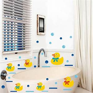 Vinyl bathroom wall stickers rubber duck family and for Wall art stickers for bathrooms