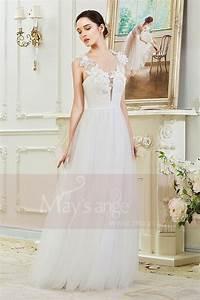 robe de mariee civile simple decollete profond avec des With robe simple avec dentelle