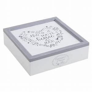 Boîte à Thé Compartimentée : boite th en bois blanc compartiment e boisnature 39 l ~ Teatrodelosmanantiales.com Idées de Décoration