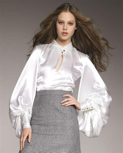 satin blouse laurent duchess satin blouse in white lyst