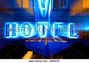 abstract illustration of hotel neon signs at night miami