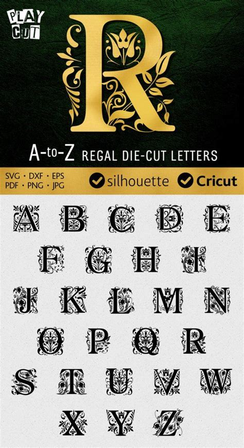 regal monogram font svg ornate letters  silhouette dxf svg cuttable alphabet svg  cricut