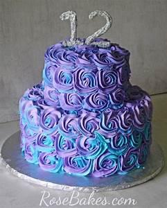 Purple & Teal Swirled Buttercream Roses Cake - Rose Bakes