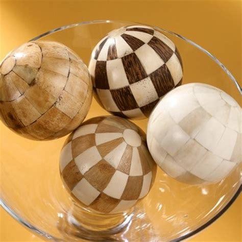 "Medium Size Wooden & Bone Decorative Balls 4"" In Diameter"