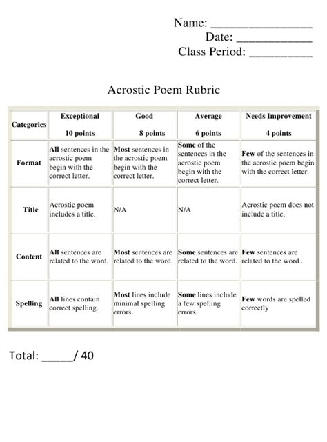 acrostic poem rubric template  printable