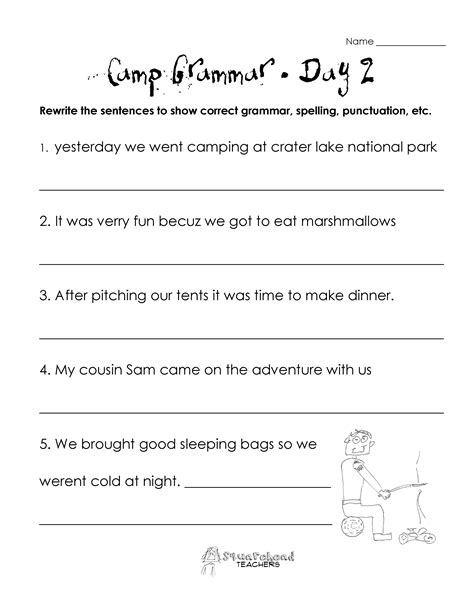Camp Grammar (4 Days Of Free Worksheets For Upper Grades)  Squarehead Teachers