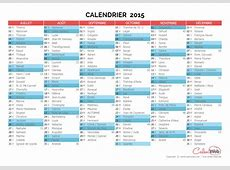 Calendrier semestriel Année 2015 avec affichage des