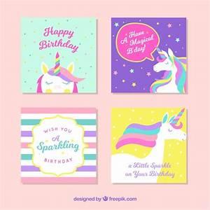 Pack de tarjetas de unicornio Descargar Vectores gratis