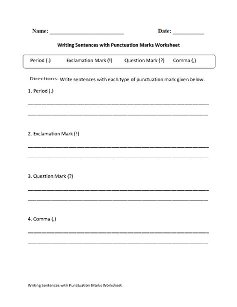 writing sentences  punctuation worksheet grammar