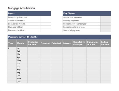 amortization schedule template   word excel