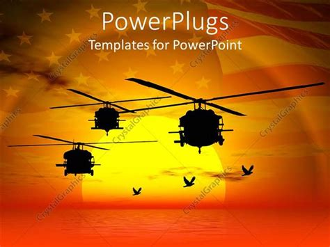 army powerpoint template powerpoint template helicopters flying sea sunset sky and american flag i