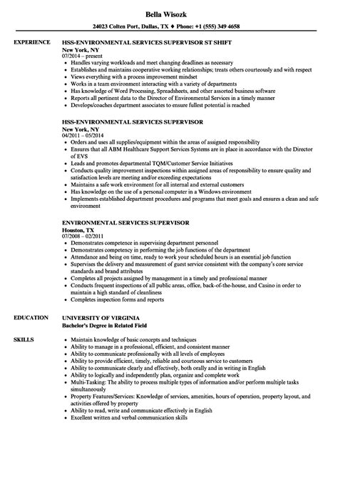 Resume Services by Resume Environmental Services Environmental Service Aide