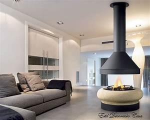 Cheminée Bois Design : chemin es centrale gaz pour une belle vue des flammes ~ Premium-room.com Idées de Décoration