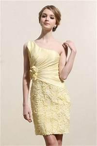 robe de bal courte jaune asymetrique avec details image With robe courte bal