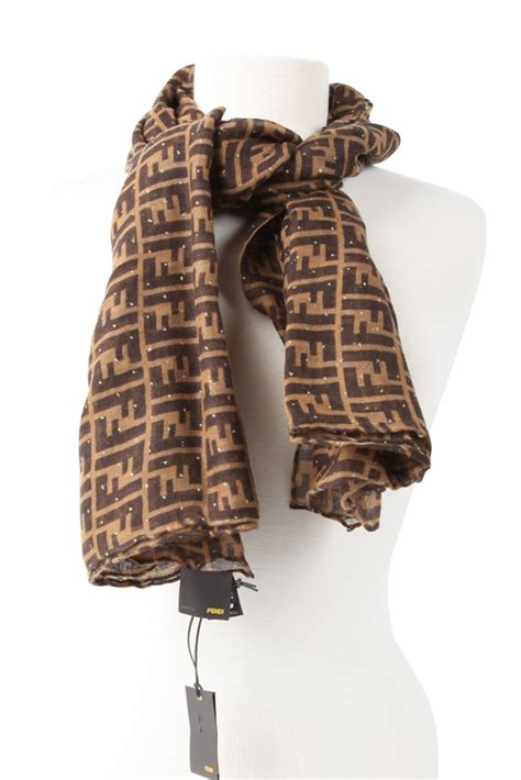 authentic fendi zucca cashmere  silk scarf brown