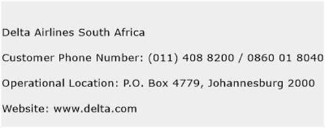 delta reservations phone number delta airlines south africa customer service phone number
