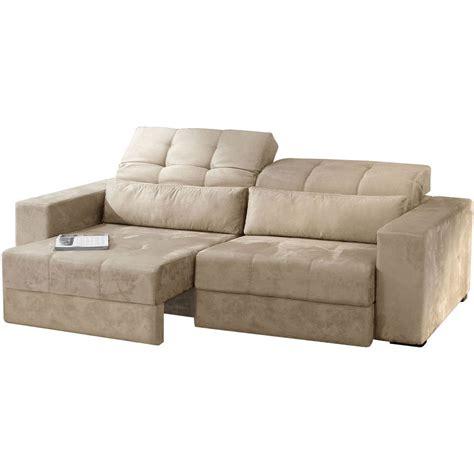 sofa retratil e reclinavel sofá retrátil e reclinável 3 lugares suede bege claro