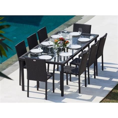 chaise de jardin en résine tressée cancun ensemble table de jardin 220 cm et 8 chaises résine tressée gris anthracite achat