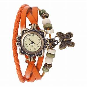 Vintage butterfly Analog Watch For Girls Orange Leather ...