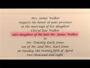 how to write wedding invitations in honor of deceased With wedding invitations for deceased parent